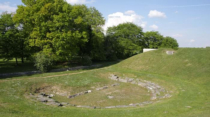The remains of the theatre at Champlieu on a summer's day